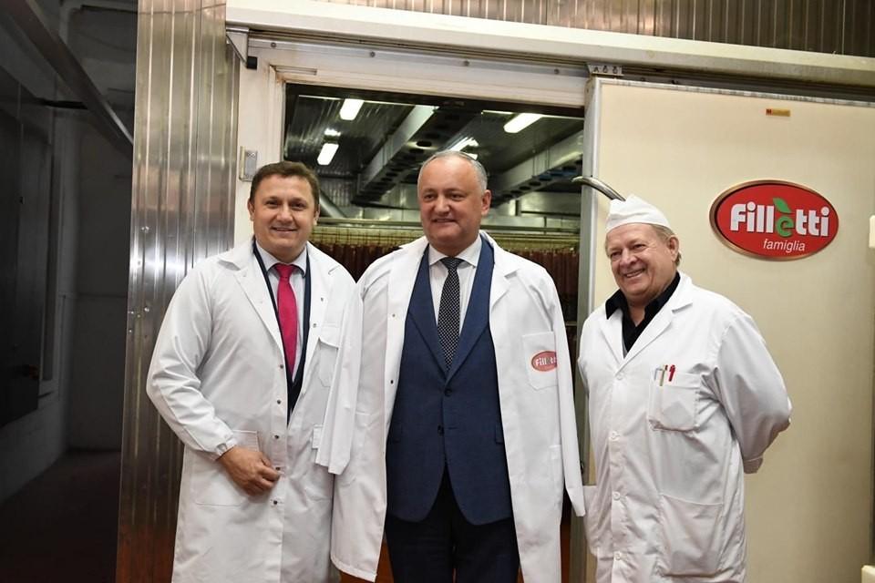 Președintele Republicii Moldova, Igor Dodon, a vizitat fabrica de mezeluri de la Bălți, Basarabia-Nord