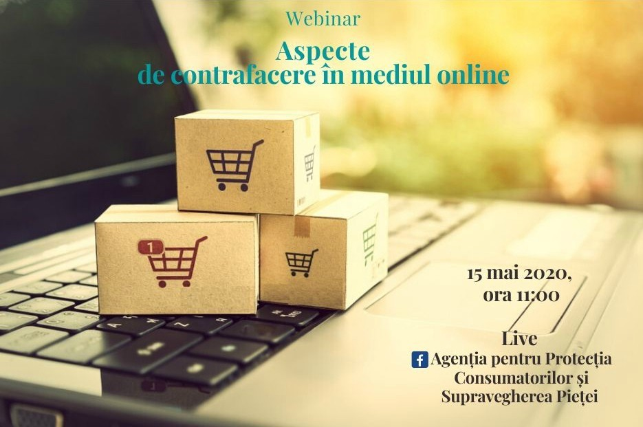 """Consumatorii interesați de siguranța achizițiilor online sunt invitați să participe la Webinar-ul organizat de APCSP – """"Aspecte de contrafacere în mediul online"""""""