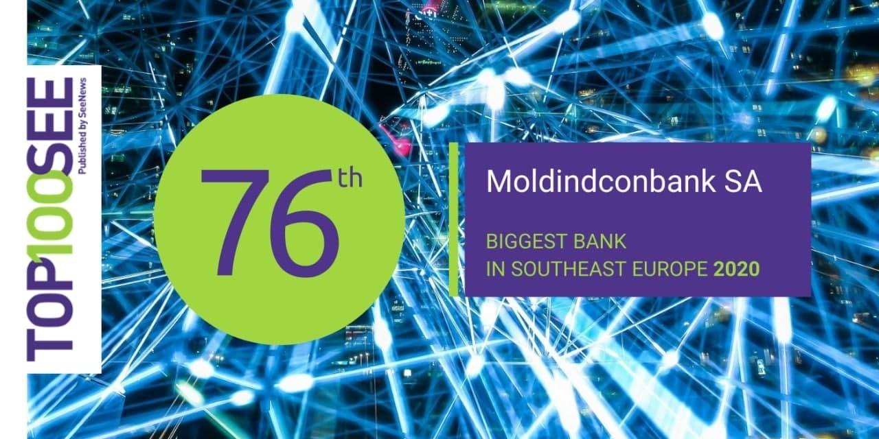 Moldindconbank își îmbunătățește poziția în TOP 100 al celor mai mari bănci din Europa de Sud-Est