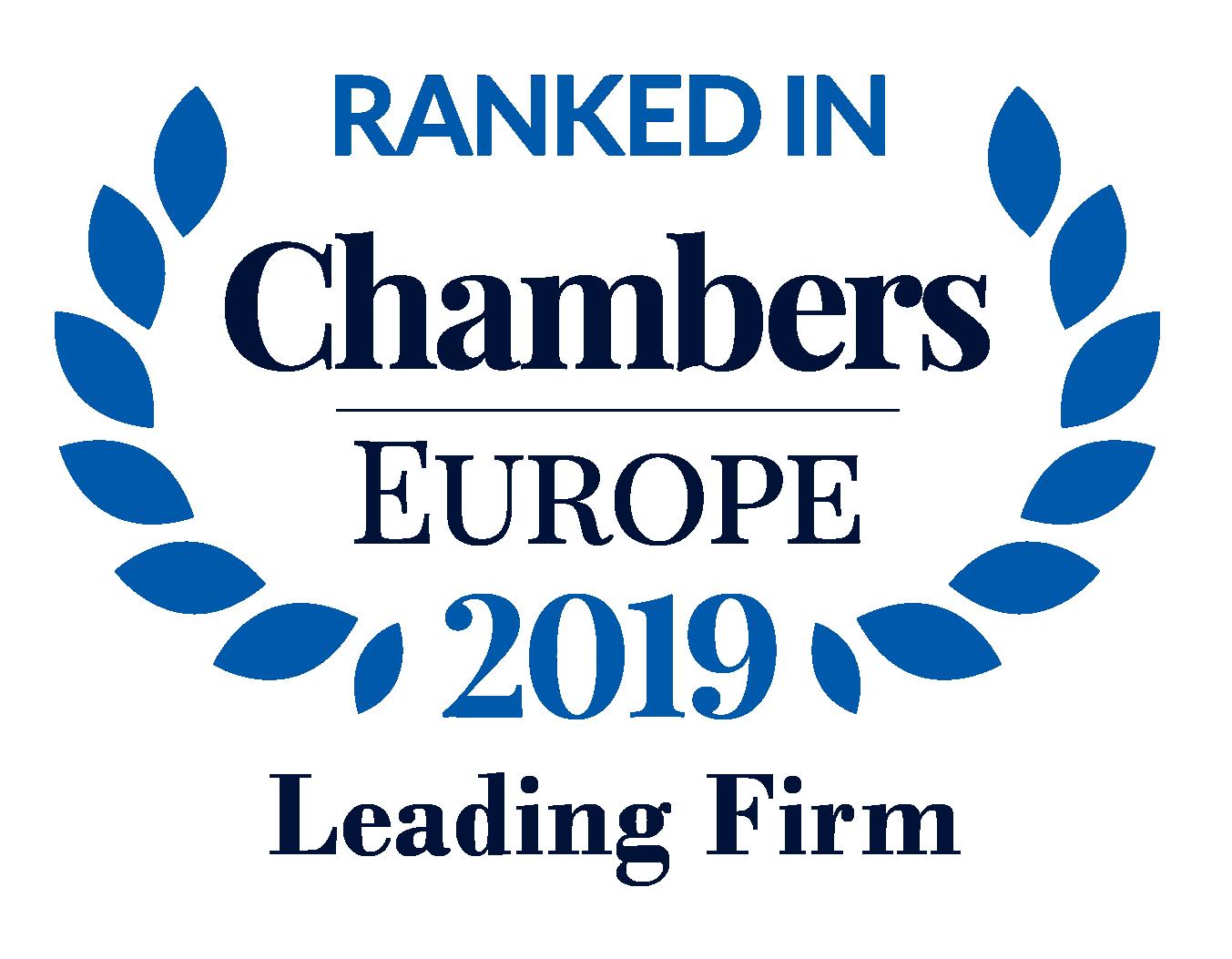 """Performanța Casei de avocatură """"Efrim, Roșca și Asociații"""" aduce recunoaștere și creștere în clasamentul Chambers Europe 2019"""
