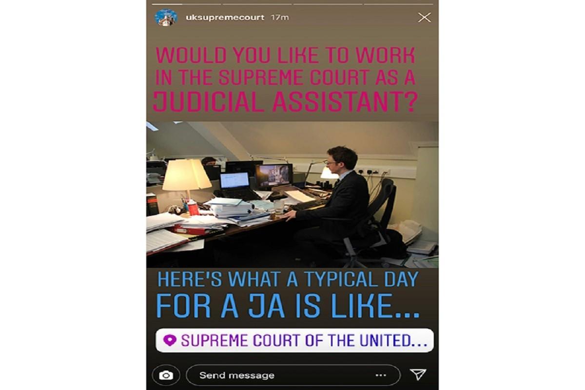 Curtea Supremă din Marea Britanie își prezintă activitatea pe Instagram, pentru a atrage noi angajați